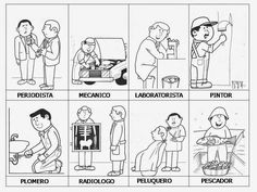 SGBlogosfera. María José Argüeso: PROFESIONES: CONOCEMOS Y COLOREAMOS Spanish Lessons, Teaching Spanish, Teaching Math, Brain Activities, Activities For Kids, Community Helpers Worksheets, Community Workers, English Class, Social Science