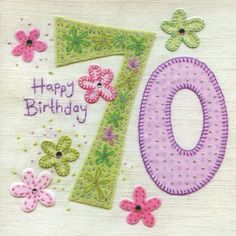 Hand Finished 70th Birthday Card
