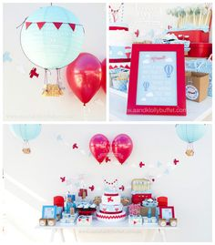Purchase mini baskets and use as weights to the balloons, attach mini flags (construction paper and string)