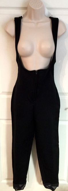 Roffe Womens 8 R Ski Bibs Pants Stirrup Black Stretch Wool Blend High Waist VTG  | eBay