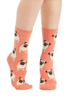 Pug Life Socks. #orange #modcloth