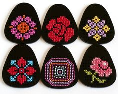 DIY Cross Stitch Pendant Blank - Black Teardrop. $12.00, via Etsy.