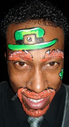Black Irish leprechaun face painting and body painting idea's to make this year exceptional for St Pattys Day #StPatricks
