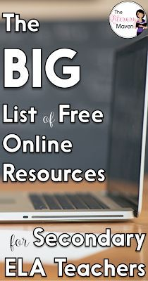 The Big List of Free Online Resources for Secondary English Language Arts Teachers How many times have you heard of or learned about a really cool website, only to promptly forget the name of it? I know it has happened to me too many times to count, which Middle School Ela, Middle School English, Secondary School, Importance Of Time Management, English Language Arts, Online Programs, English Lessons, English Lesson Plans, English Resources