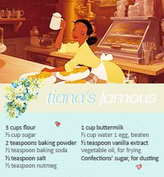 Learn how to make Tiana's delicious deserts and other things from The Prince… Erfahren Sie, wie Sie Tianas köstliche Desserts und andere Dinge aus The Princess And The Frog zubereiten! Disney Dishes, Disney Desserts, Köstliche Desserts, Disney Food Recipes, Old Recipes, Vintage Recipes, Easy Baking Recipes, Vintage Food, Delicious Deserts