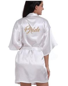 8583ec9c48 RB91 2017 Fashion Silk Bride of Mother Robe with Gold Letter Sexy Women  Short Satin Wedding