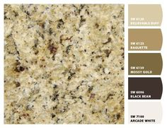 Colors that go with my granite: Paint colors by Sherwin-Williams/Granite is New Venetian Gold. Good to know what colors to pair with the granite we picked out for the kitchen. LOVE our venetian gold! Granite Kitchen, Kitchen Countertops, Kitchen Backsplash, Kitchen Cabinets, Backsplash Ideas, Kitchen Island, Granite Bathroom, Brown Granite Countertops, Tuscan Bathroom