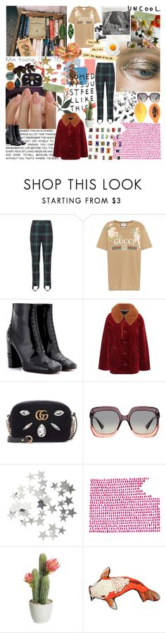 """""""Now let me dream about the ocean when the sun is, sun is rising in slow motion"""" by starghaze ❤ liked on Polyvore featuring Burberry, Gucci, Chloé, Marc Jacobs, Christian Dior, H&M, FRUIT, Silken Favours and Harry Allen"""