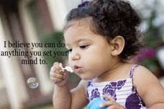Blowing bubbles all by herself! x