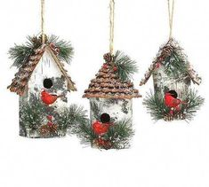 Rustic birdhouse ornaments feature vivid cardinals and fluffy greens with natural jute hangers. With textured pine cone roof, these large ornaments make thoughtful holiday gifts. or unique additions Diy Christmas Ornaments, How To Make Ornaments, Homemade Christmas, Christmas Wreaths, Christmas Decorations, Christmas Bird, Woodland Christmas, Rustic Christmas, Vintage Christmas