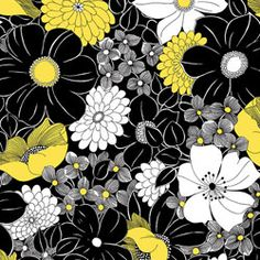 Quilting Treasures Sunburst Contempo Floral Black