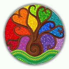 rainbow tree mandala Tree of Life art mandala art spiritual gifts Tree of Light spiritual art gifts under 40 meditation tree mandala pagan Mandala Art, Mandala Rocks, Mandala Painting, Tree Of Life Art, Tree Art, Dot Art Painting, Stone Painting, Elspeth Mclean, Arte Fashion