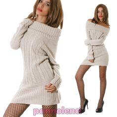 Miniabito-tricot-vestito-maxipull-donna-carmen-gitana-maglione-nuovo-CC-730