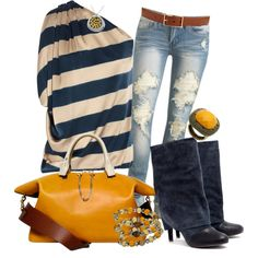 """Mustard On Navy"" by christina-young on Polyvore"