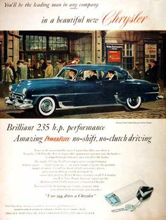 1954 Chrysler New Yorker Deluxe Sedan original vintage advertisement. Photographed in vivid color in front of the Royal Alexandra theater.