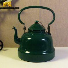 Vintage Emerald Green Enamelware Teapot  Made by ClockKittyVintage