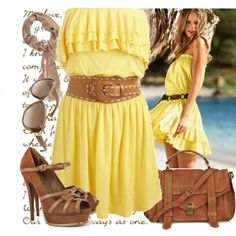 yellow.......cute summer dress with a different belt...