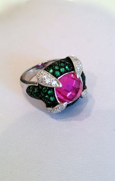 Sterling Silver Vintage Burma Ruby and Emerald Ring, via Etsy.
