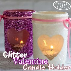 DIY Glitter Valentine Candle Holder – Top Easy Interior Design For Party Decor Project - Homemade Ideas (2)