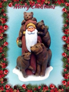 Bear-and-cubs-with-Santa-by-Susan-M-Smith