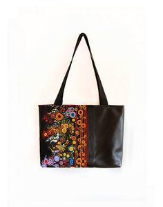 Black shoulder bag Effervescence with vegan leather on Etsy