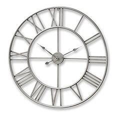 80cm Extra Large Cut Out Silver Skeleton Wall Clock w Roman Numerals
