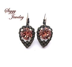 Blush and Black Diamond Earrings Made with by SiggyJewelry on Etsy