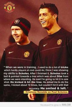 One of my favourite quotes in football. Ronaldo's respect for Paul Scholes is high and it reminds us permanently of the Manchester United legend's incredible accuracy! Messi And Ronaldo, Cristiano Ronaldo 7, Ronaldo Juventus, Manchester United Legends, Manchester United Football, Ronaldo Quotes, Football Memes, Football Pitch, Football Gif