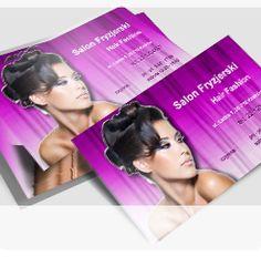 ta wizytówka to klasyka gatunku, jedna z częściej wybieranych przez klientów, są na niej zarówno intrygująca kobieta jak i fioletowa kurtyna niczym z salonu fryzjerskiego