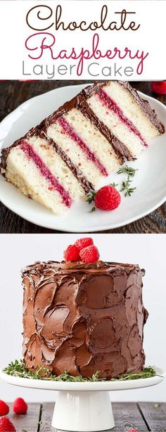 CHOCOLATE RASPBERRY LAYER CAKE DESSERT RECIPES - #recipes, dessert, food: