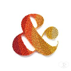 """AMPERSAND, 3/8"""" quilling paper coils on 12""""x12"""" white cardstock. JUDiTH+ROLFE"""