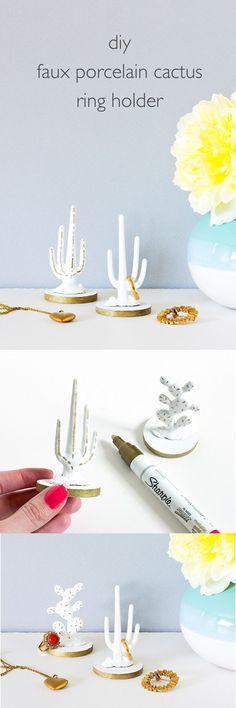 Fashionable DIY Faux Porcelain Cactus Ring Holder | Fun DIY Organization Hack Every Girl Should Know by DIY Ready at  http://diyready.com/organization-hacks-diy-storage-ideas/