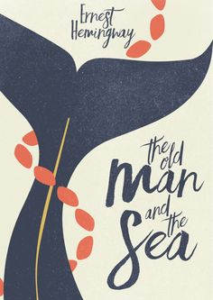 the Old Man and The Sea - Hemingway Book Cover Illustration Art Print