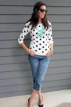 Bubble necklace, polka dot and boyfriend jeans