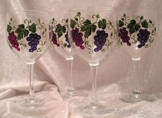 Glassware - GRAPE CLUSTERS: Hand painted wine glasses - Unique Gifts - HandCraftsByPat