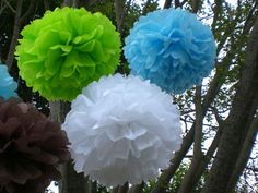 Baby Shower Flower Decorations | ... Baby Shower Decorations ...8 Hanging Tissue Poms Plus 3 Free Flowers
