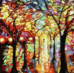 Rain Night Oil Painting - Lights In The Rain Painting  - Rain Night Oil Painting - Lights In The Rain Fine Art Print