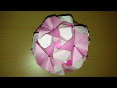 折り紙のくす玉 マジックローズキューブ 30ユニット 折り方Origami Kusudama Magic Rose Cube flower 30units…