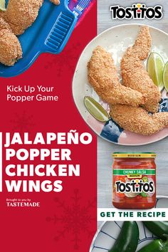 TOSTITOS® Jalapeño Popper Chicken Wings Chicken Poppers, Jalapeno Popper Chicken, Wing Recipes, Mexican Food Recipes, Yummy Snacks, Yummy Food, Microwave Baking, Tastemade Recipes, Cooking Chicken Wings