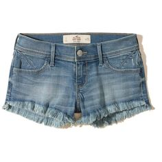 Hollister Low-Rise Denim Short-Shorts (€33) ❤ liked on Polyvore featuring shorts, ripped medium wash, ripped denim shorts, micro denim shorts, denim shorts, low rise denim shorts and hot shorts