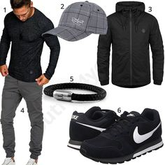 Grau-Schwarzer Herren-Style mit Cap und Jogg-Hose (m1024) #longsleeve #cap #sneaker #armband #nike #cap #outfit #style #herrenmode #männermode #fashion #menswear #herren #männer #mode #menstyle #mensfashion #menswear #inspiration #cloth #ootd #herrenoutfit #männeroutfit