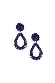 """Glass beaded earrings. 10 grams. Nickle and lead free. Post backs.    Dimensions:2.5"""" long   Navy Kate Earrings by Lisi Lerch. Accessories - Jewelry - Earrings Dallas, Texas"""