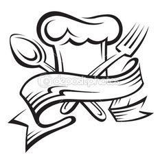 Tenedor, cuchara y gorro de chef — Vector de stock © alexkava #12523678