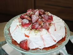 Pavlova with Strawberries, Rhubarb and Fresh Cream! Chef Curtis Stone's Classic Aussie Summer Dessert |