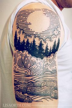 linework engraving trees by lisa oath #arm #shoulder #tattoos