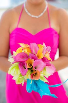 Ooooo we <3 this ensemble. Gorgeous bright pink bridesmaid dress and stunningly beautiful florals by \\ Florals by Grand Floral  \\ Photo Credit: Clove & Kin \\ Courtesy Bliss Events