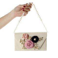 Ladies' Floral Pearl Clutch Bag Evening Wedding O1229
