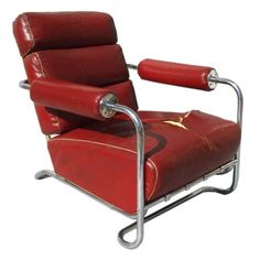 Machine Age Leather and Chrome Lounge Chair by Rohde