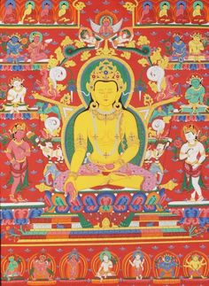 """Buddha ratnasambhava. When the obscuring emotion of pride is purified, the Wisdom of equality emerges. This Wisdom is associated with the second dhyani Buddha, The Buddha Ratnasambhava. As soon we are born, we develop a belief of self or ego which is Thinking, """"I am separate from others."""""""