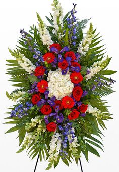 Red, White, and Blue Funeral Standing Spray